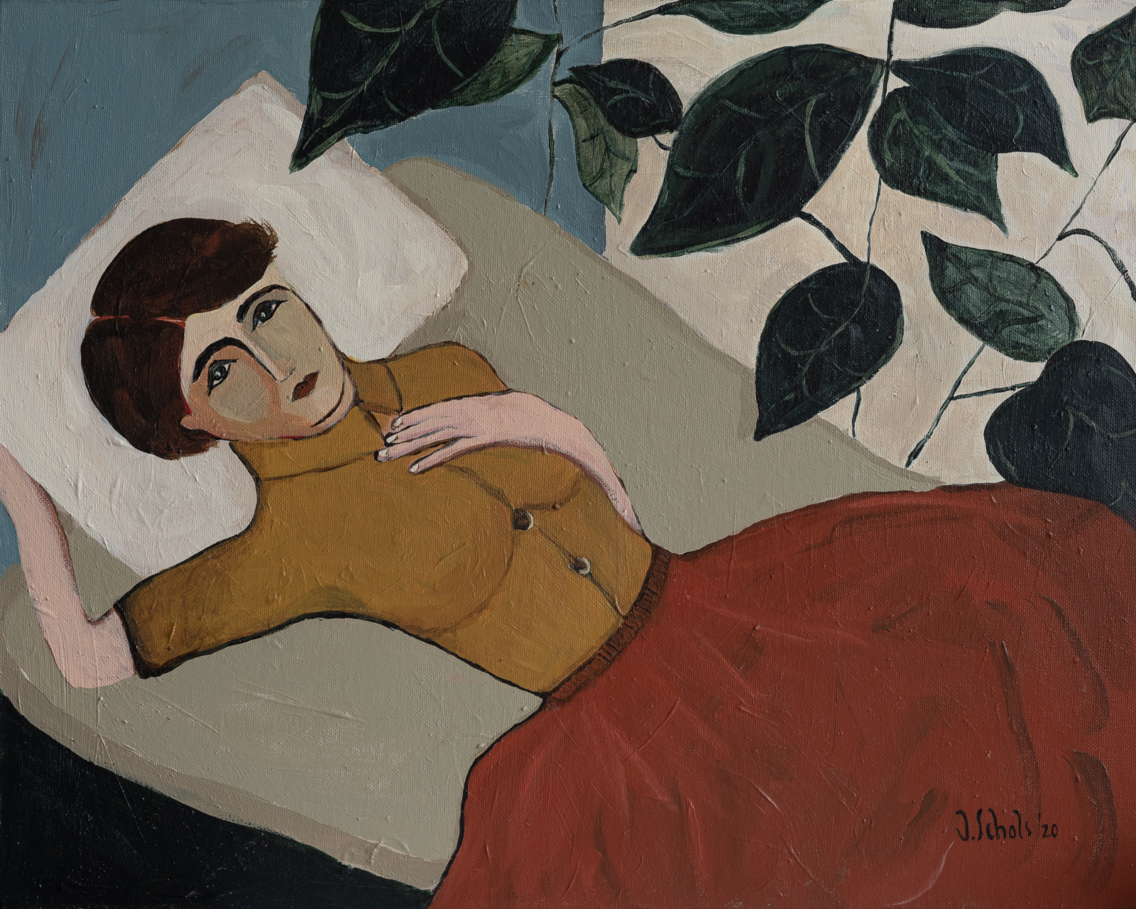 MORE INFO & PRICINGTitle: Woman lying on bedAcrylics on cotton board50 x 40 cmMore details 'Woman lying on bed'